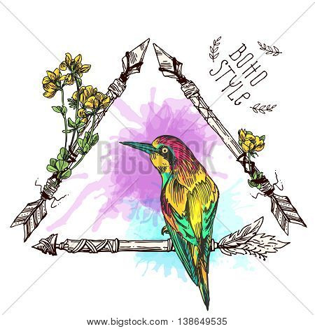 Beautiful hand drawn vector  illustration bird and arrow. Boho style drawing.