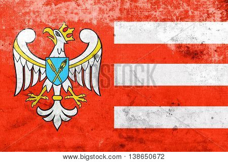 Flag Of Gniezno County, Poland, With A Vintage And Old Look