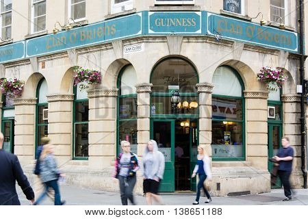 BATH SOMERSET UK - JULY 15 2016 Flan O'Briens Public House. Pub on Westgate Street in the UNESCO World Heritage City of Bath in Somerset England