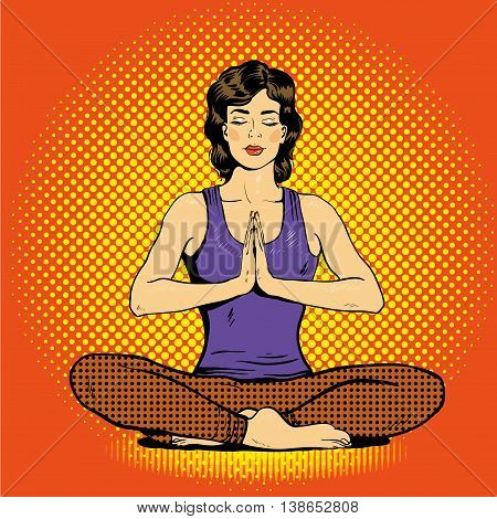 Meditating woman with speech bubble in retro pop art comic style. Mental balance and yoga concept.
