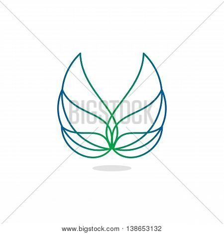 Beauty, isolated, vector, geek, light angel wings, lineart, outline, flat, stylish, elegant, classic stylized logotype green blue gradient color logo template wings feathers line element logo