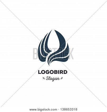 Isolated, cartoon, geek, strict eagle flying, triangular vector shape, minimalism, flat, stylish, geometric stylized logotype, dark color logo template, bird wings feathers eagle element logo