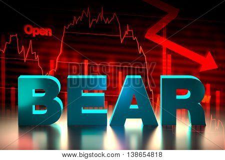 Bearish Stock Market Chart With Bear Word, 3D Rendering