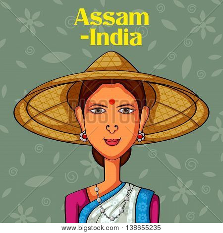 Vector design of Assamese Woman in traditional costume of Assam, India