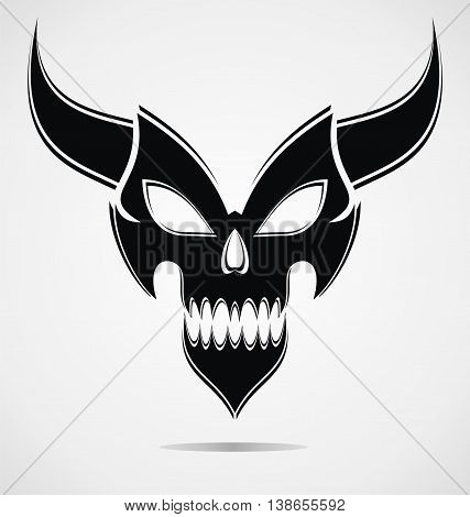 Black Demon Mask For Halloween and Tattoo Design