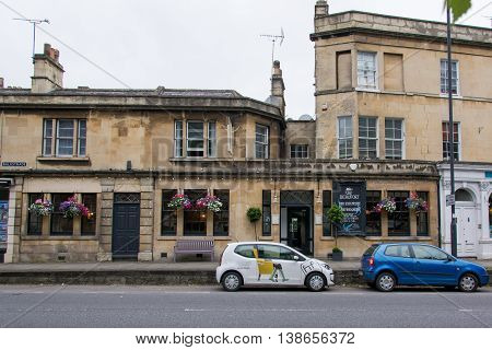 BATH SOMERSET UK - JULY 15 2016 The Beaufort Public House wide. Pub on London Road in the UNESCO World Heritage City of Bath in Somerset England