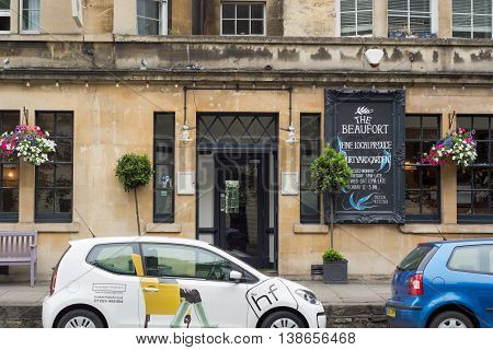 BATH SOMERSET UK - JULY 15 2016 The Beaufort Public House close. Pub on London Road in the UNESCO World Heritage City of Bath in Somerset England