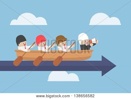 Senior Businessman With His Team Rowing To Success