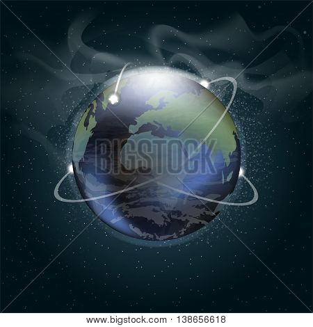 Big planet earth seen from space in 3d with trajectories of satellites orbiting over a background full of glowing stars. Digital vector image