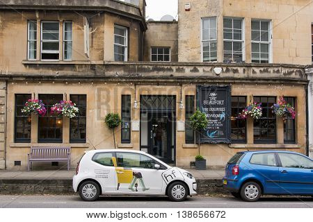 BATH SOMERSET UK - JULY 15 2016 The Beaufort Public House. Pub on London Road in the UNESCO World Heritage City of Bath in Somerset England
