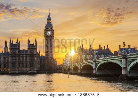 Big Ben and Westminster Bridge at sunset London UK