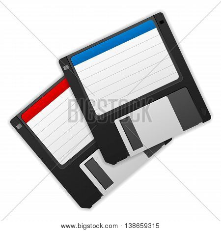 Diskettes on a white background. Vector illustration.