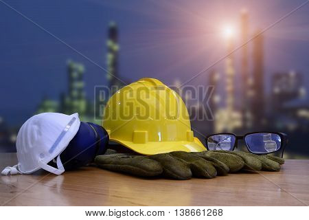 Work safety concept : work out door at construction site during used personal protective equipment by hard hat and safety standard .