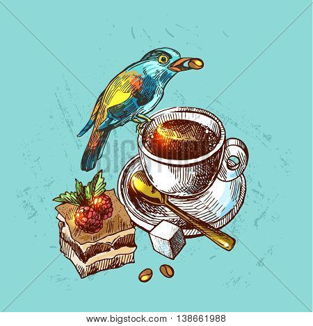 Beautiful hand drawn vector  illustration bird and cap of coffee. Boho style drawing.