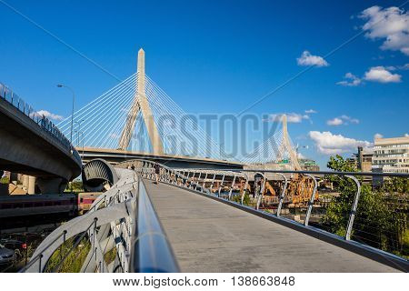 The Zakim Bridge  With Blus Sky In Boston