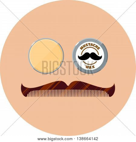 Mustache wax and hipster mustache shaped comb flat icons