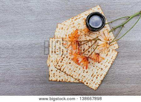 Passover Background. Wine And Matzoh Over Wooden Table. Process.