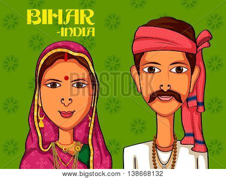 Vector design of Bihari Couple in traditional costume of Bihar, India