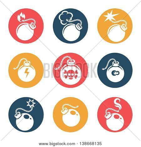 Bombs flat icons set vector on white background