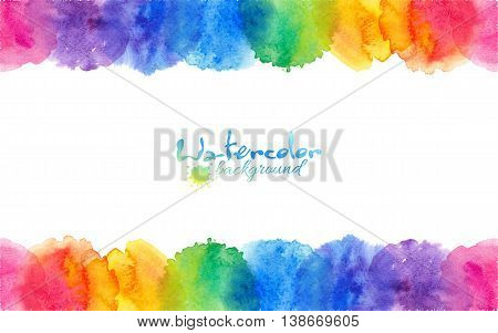 Bright rainbow colors watercolor circles vector frame