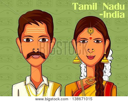 Vector design of Tamil Couple in traditional costume of Tamil Nadu, India