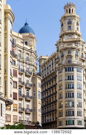 Historic buildings in the city of Valencia, Spain