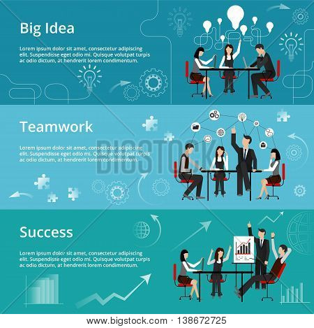 Modern flat thin line design vector illustration concepts of creative big idea teamwork process and success in business for graphic and web design