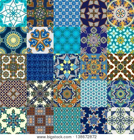 Vector design of seamless Persian tile collection