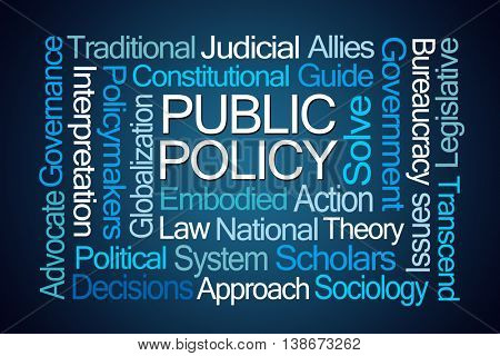 Public Policy Word Cloud on Blue Background poster