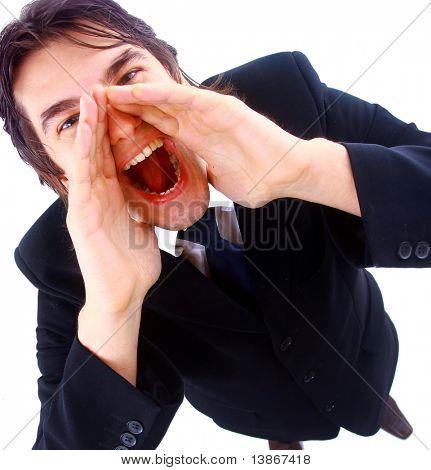 Closeup portrait of a young man screaming out loud on a white background