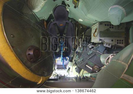 Kaluga, Russia - July 13, 2014, Cab interior reentry vehicle