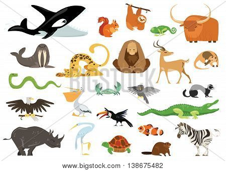 Set of cute cartoon animals, snakes, birds, fishes inhabiting planet earth. Tropic, exotic, arctic, ocean flora and fauna. Cheerful crocodile, killer whale, gorilla icons isolated on white background.