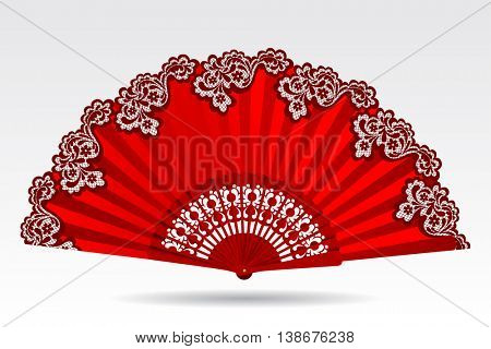 Open vintage folding red fan with a lace ornament isolated on white. Vector illustration