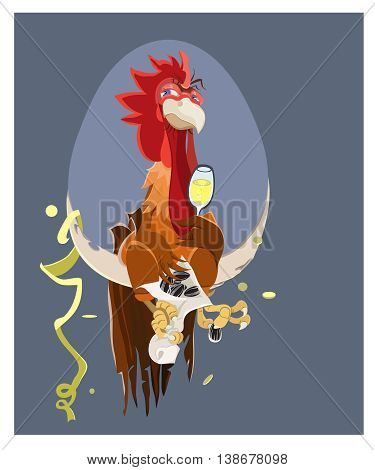 Cute cartoon rooster vector illustration. Cartoon rooster isolated on background. Rooster, cock farm bird.