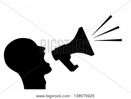 Man announcing through megaphone advertising. Vector illustration.