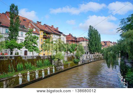 Slovenian Capital Ljubljana Riverbank In City Center