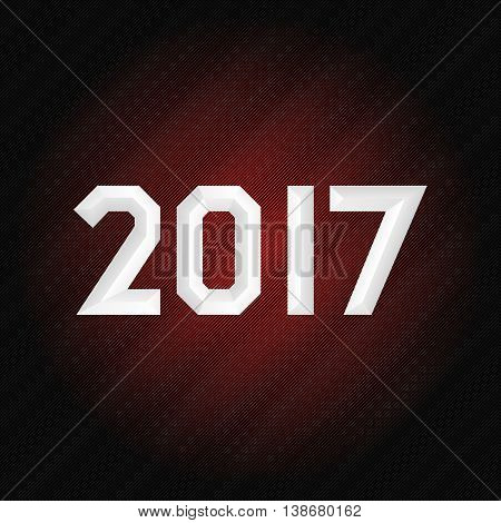 Happy new 2017 year poster. Embossed font. Technological, futuristic, glimmering background. Isolated, vector eps 10
