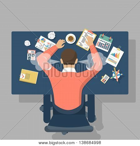 Man at desk overwhelmed hard work. Stress at work. Fatigue at job. Vector illustration flat design.