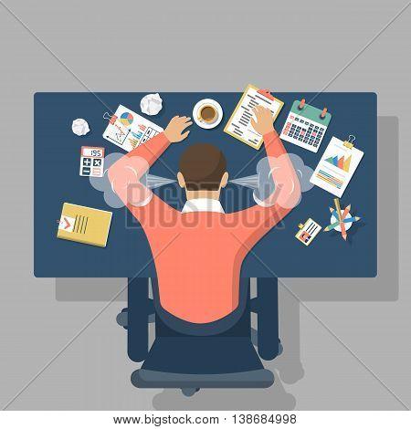 Man at desk overwhelmed hard work. Stress at work. Fatigue at job. Vector illustration flat design.