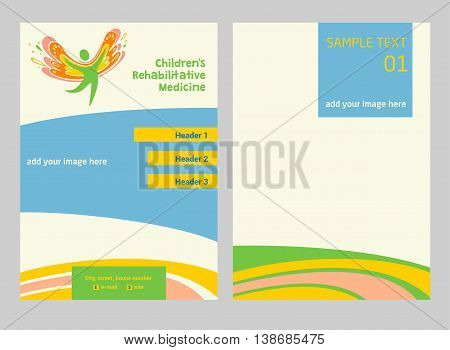 Children Rehabilitation Medicine. Flyer And Vector Logo Depicting The Silhouette Of A Healthy, Happy