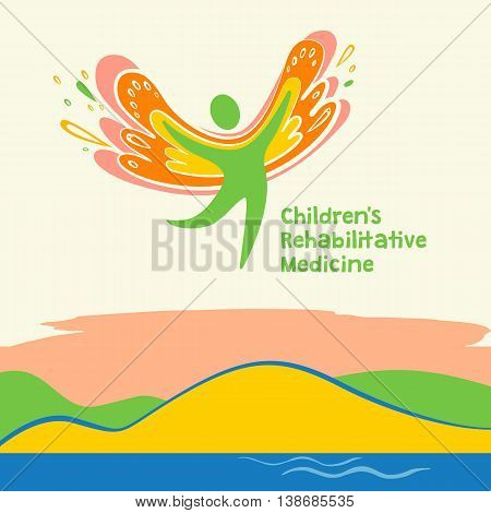 Children Rehabilitation Medicine. Vector Logo Depicting The Silhouette Of A Healthy, Happy Child
