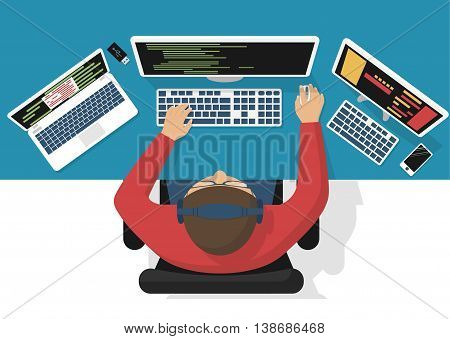 Programmer at computer desk working on program design. Software concept. Vector illustration flat design. Man working at desktop computer laptop. Coding web technology. Development applications.