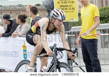 STOCKHOLM - JUL 02 2016: Closeup of triathlete cyclist Laura Lindemann Germany in the Women's ITU World Triathlon series event July 02 2016 in Stockholm Sweden