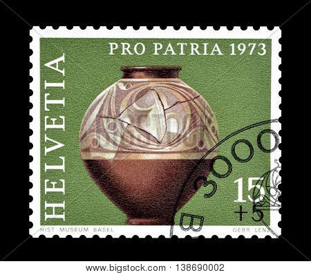 SWITZERLAND - CIRCA 1973 : Cancelled postage stamp printed by Switzerland, that shows Gallic jar.