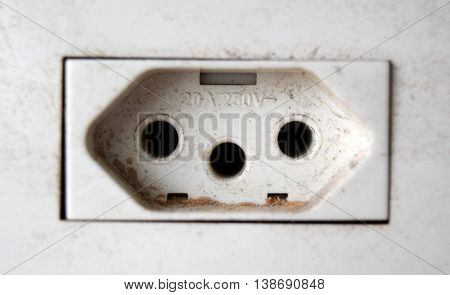 Dusty 10A-250V volt outlet in a wall in Brazil
