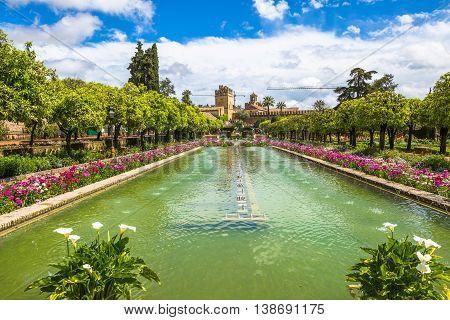 The popular gardens of Alcazar de los Reyes Cristianos in Cordoba, Andalusia, Spain.