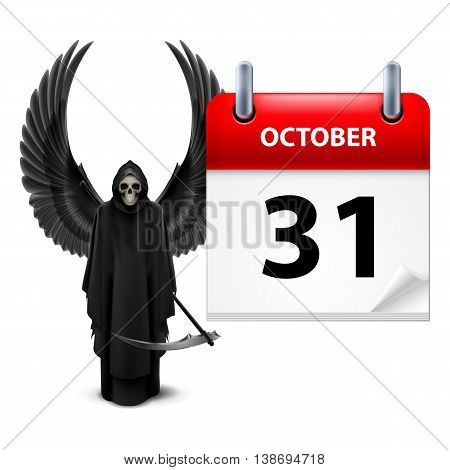 Grim Reaper with wings and calendar on 31th of October over white. Halloween concept