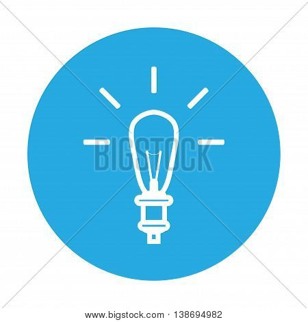 lamp sign icon on blue background. vector illustration