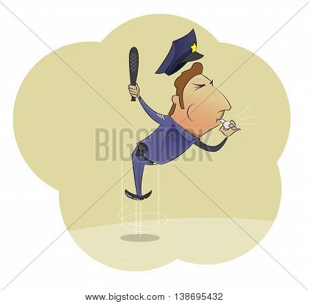 Vector cartoon image of angry police officer in uniform whistling and waving baton on light background. Vector illustration of police work.