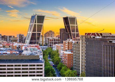 Madrid, Spain financial district skyline at twilight